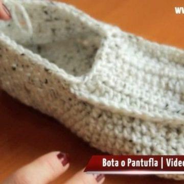 Pantufla Bota Crochet ¿Cómo Tejer una Pantufla?  | Paso a Paso 7 de 8